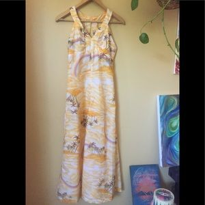 Vtg Hawaiian Rainbow Yellow Maxi Dress XS//S